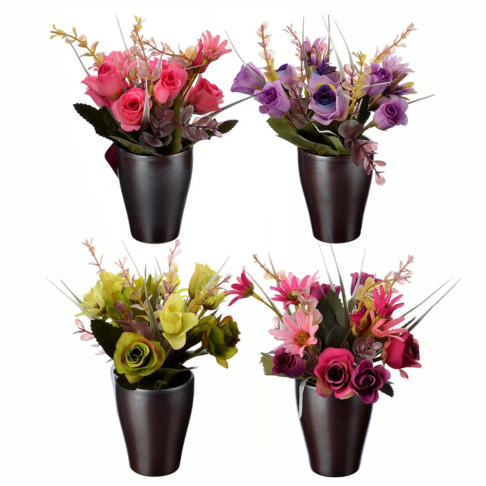 LADECOR Цветок искусственный декоративный в горшке, пластик, керамика, 23х7 см, 4 цвета