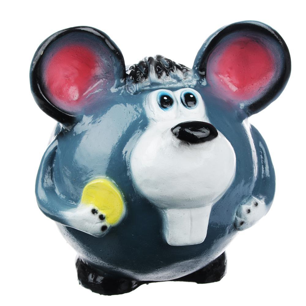 Копилка в виде мышонка с монеткой, с сыром, гипс, 2 дизайна, 17,5х17х18 см