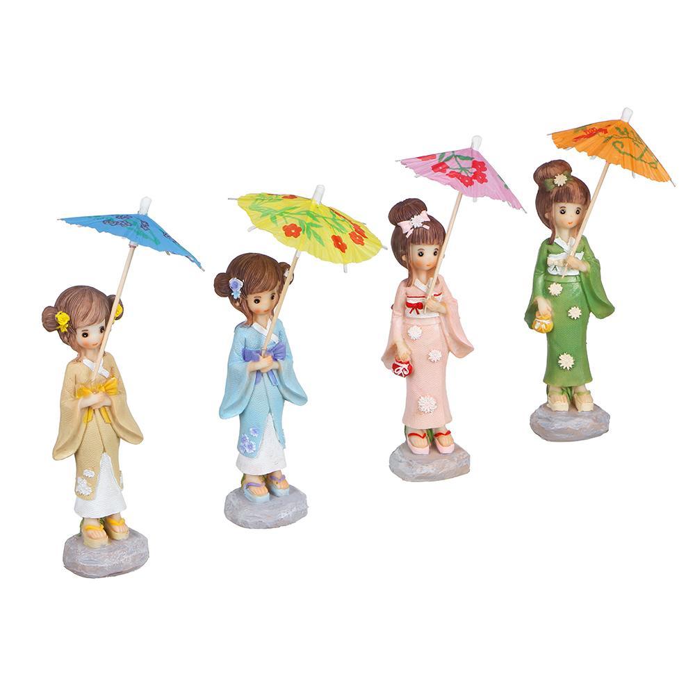 Статуэтка девушка с зонтиком, 15х4,5 см, 4 дизайна, полистоун
