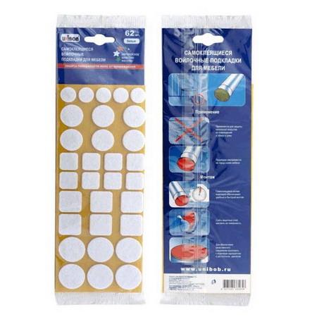 Самоклеящиеся войлочные подкладки для мебели, белый, 62 шт/упак