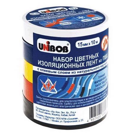 Набор электроизоляционных клейких (изолента) 15мм х 10м, 5шт/упак