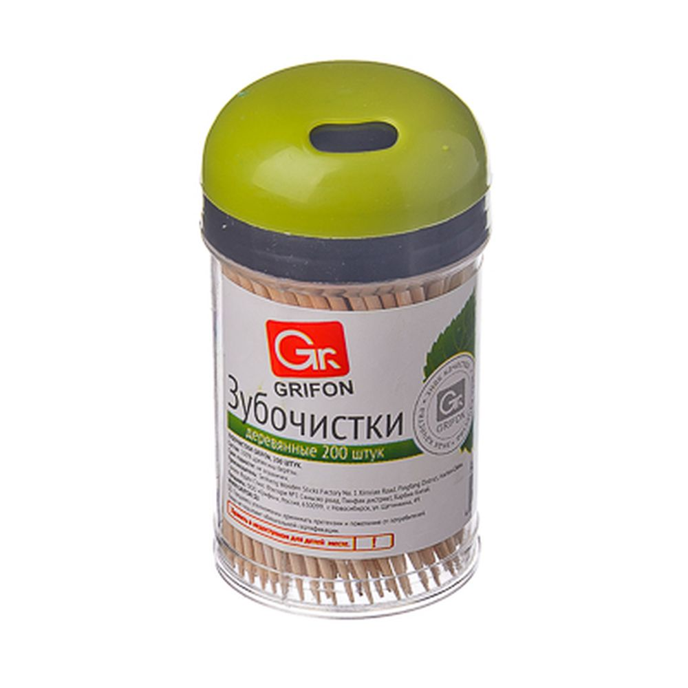 GRIFON Зубочистки из дерева 200шт, в пластиковой баночке, 400-003