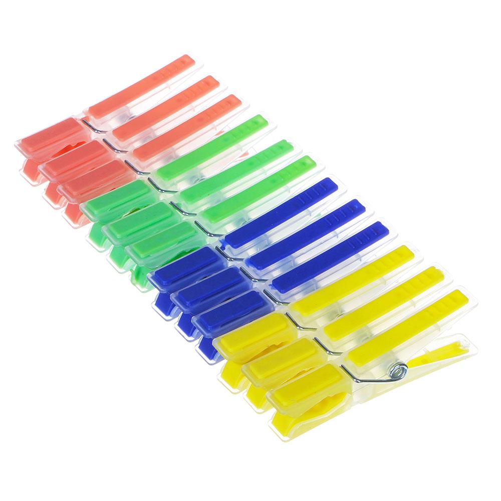 Набор прищепок 12шт, пластик, с силикон.держателями, Квадрат, 4 цвета, D0303