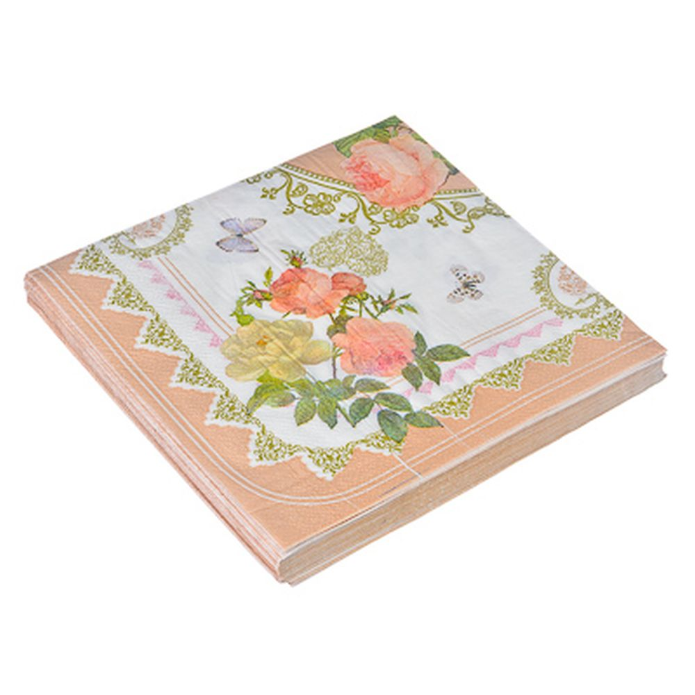 Салфетки бумажные 20шт, двухслойные, 33x33см Букет роз