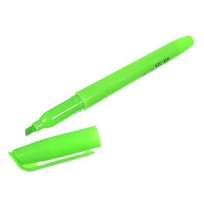 Маркер-выделитель зеленый, круглый корпус, скошенный наконечник, линия 4мм
