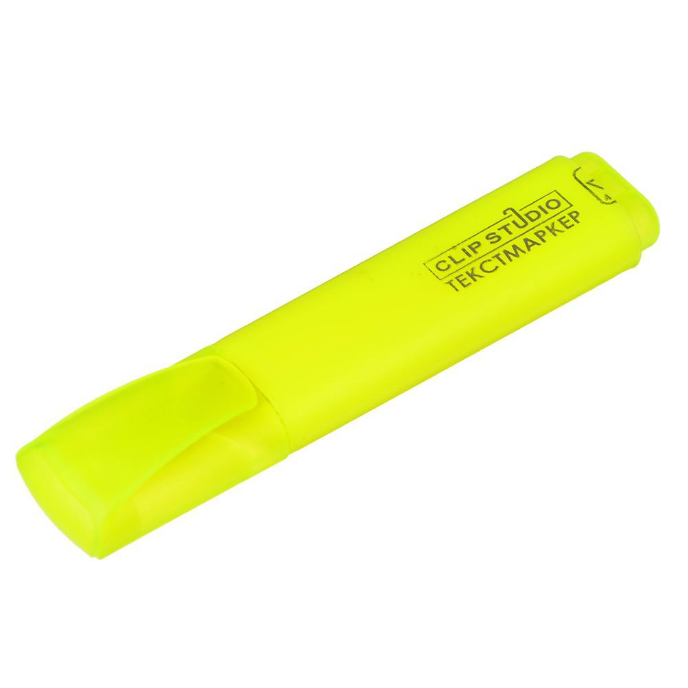 Маркер-выделитель желтый, плоский корпус, скошенный наконечник, линия 4мм