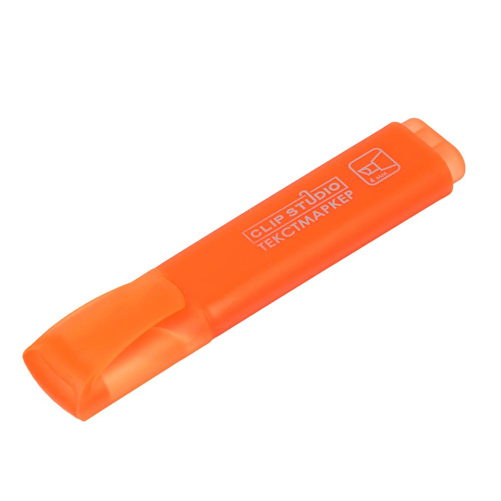 Маркер-выделитель оранжевый, плоский корпус, скошенный наконечник, линия 4мм