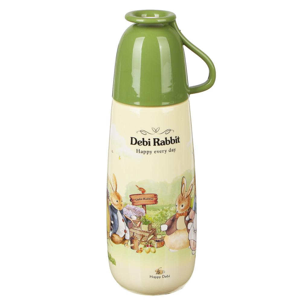 Бутылочка с кружкой, 650мл, пластик, Зайчата