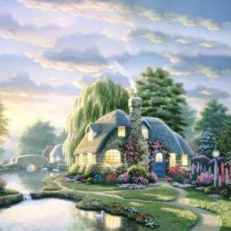 Алмазная вышивка Дом у реки