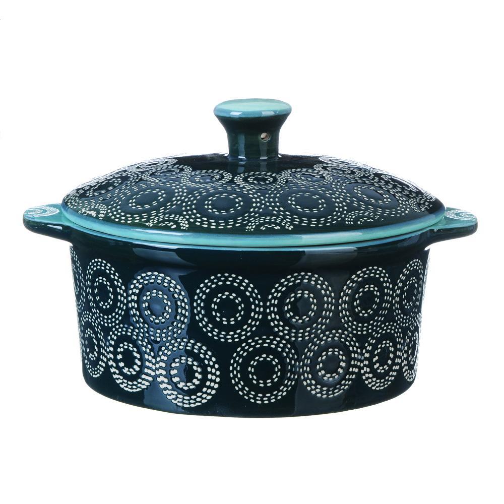 MILLIMI Горшочек с крышкой для запекания и сервировки, керамика, 13,5х6см, 500мл, аквамарин