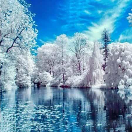 Алмазная вышивка (живопись) Зимнее озеро