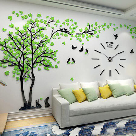 Часы черные 3D дерево 2,5 * 1,3 м