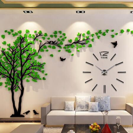 Часы черные 3D дерево 3 * 1,5