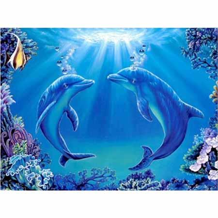 Алмазная вышивка (живопись) Дельфины