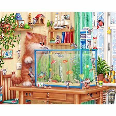 Алмазная вышивка (Живопись) Аквариум и кот