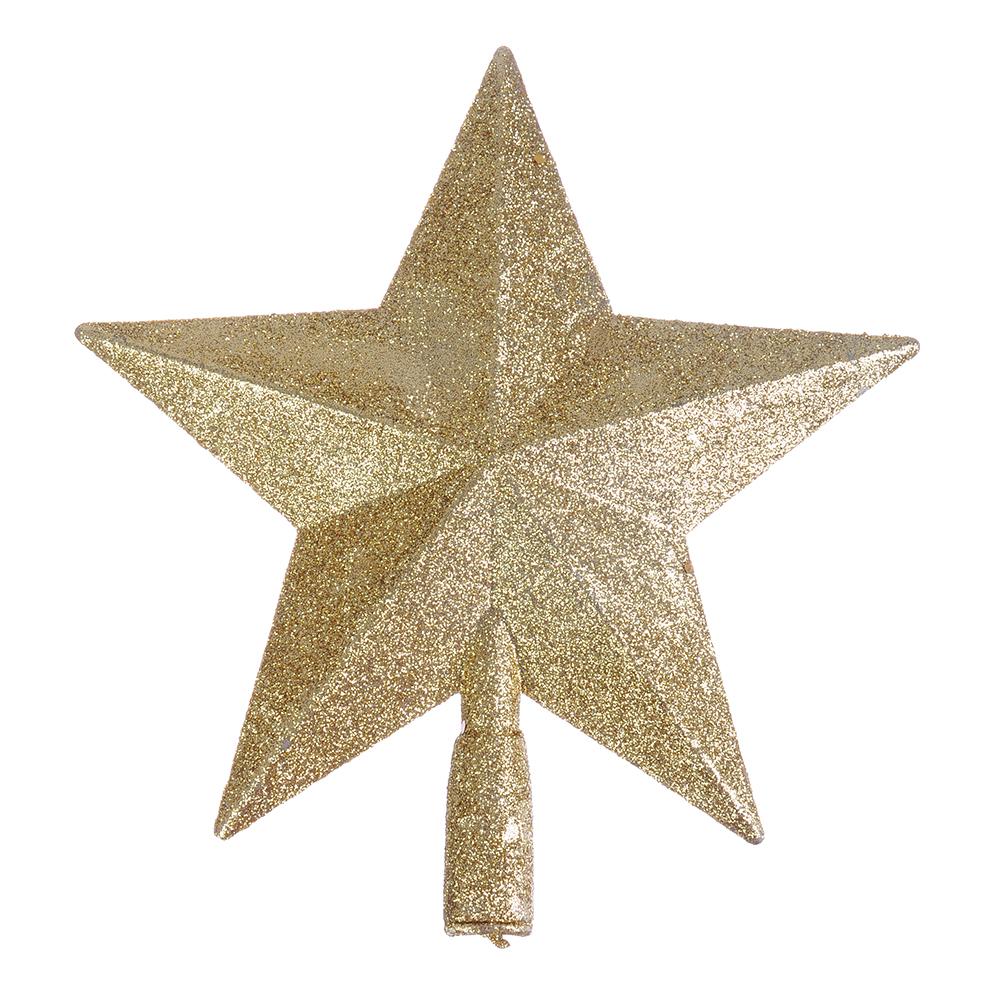 СНОУ БУМ Звезда на елку 20см, пластик, красный, золото