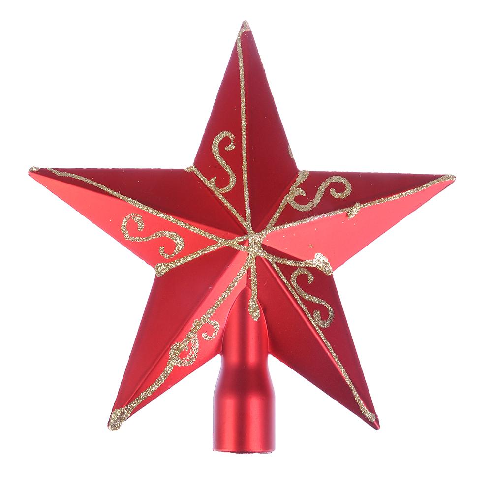 СНОУ БУМ Звезда на елку с декором, 15см, пластик, красный, золото
