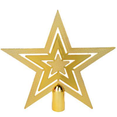 СНОУ БУМ Звезда на елку фигурная, 15см, пластик, красный, золото