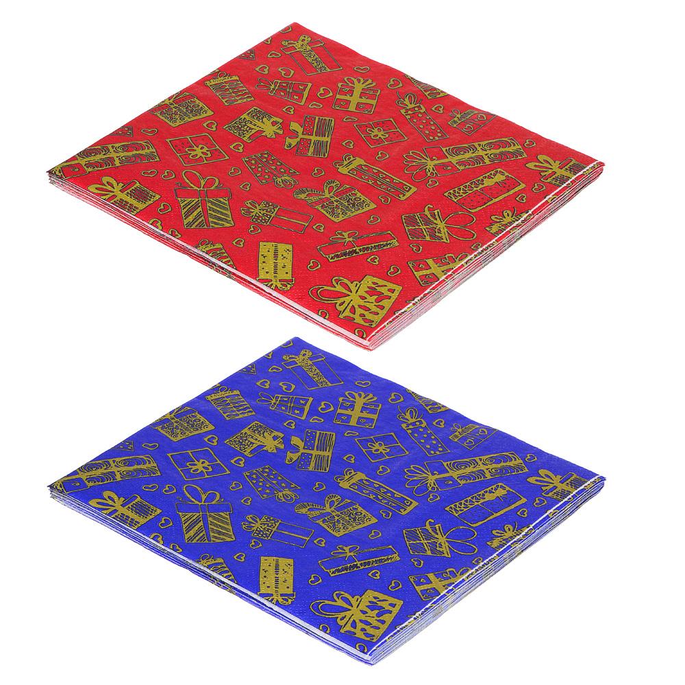 СНОУ БУМ Салфетки бумажные 12шт, праздничные, 33х33см, арт 1