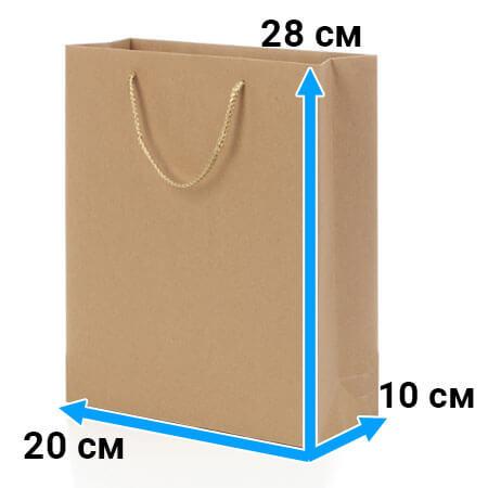Пакет крафт с ручками 20 см 28 см 10 см бурый