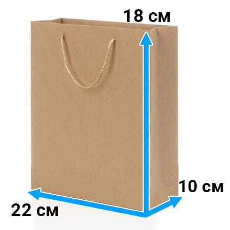 Пакет крафт с ручками 22 см 18 см 10 см бурый