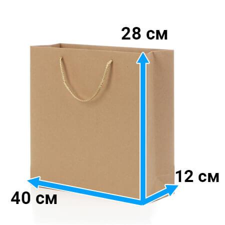 Пакет крафт с ручками 40 см 28 см 12 см бурый