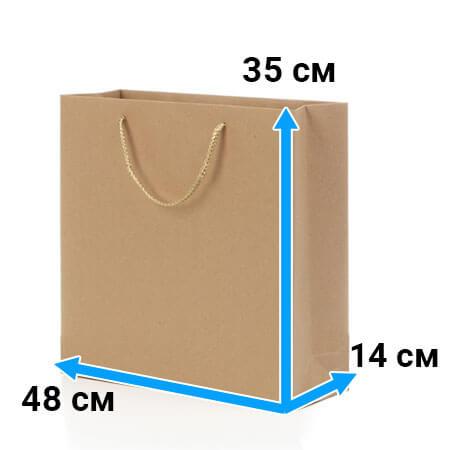 Пакет крафт с ручками 48 см 35 см 14 см бурый