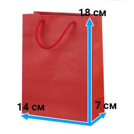 Пакет крафт с ручками 14 см 18 см 7 см красный