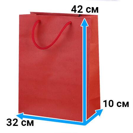 Пакет крафт с ручками 32 см 42 см 10 см красный