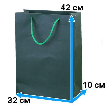 Пакет крафт с ручками 32 см 42 см 10 см зеленый
