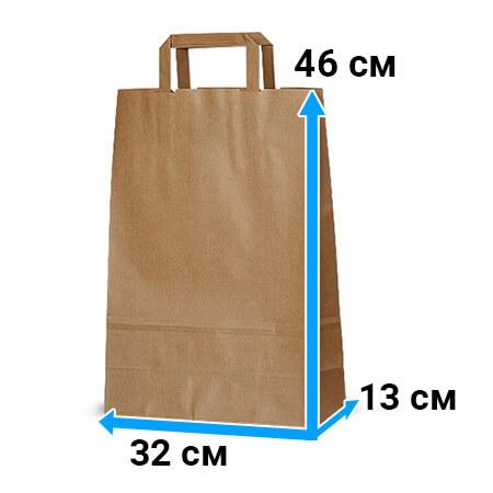 Крафт пакет с плоской ручкой «Бурый», 32*13*46 см