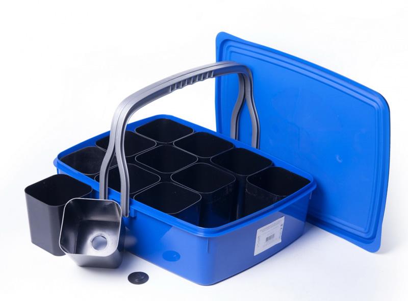 Набор для выращивания рассады:12 стаканчиков, контейнер с крышкой