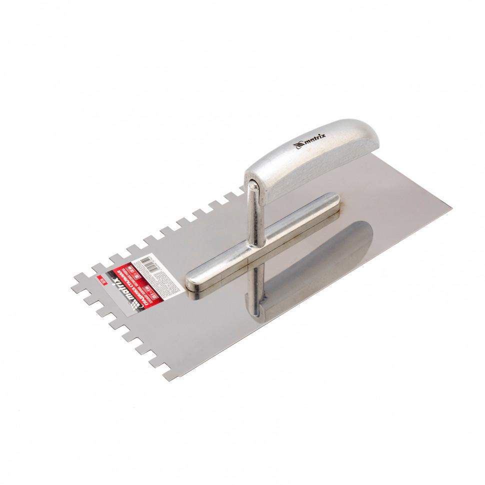 Гладилка из нержавеющей стали, 280 x 130 мм, деревянная ручка, зуб 8 x 8 мм Matrix
