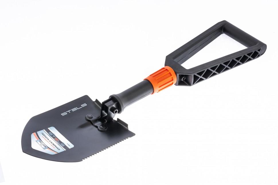 Лопата походная, 150 x 205 x 253-590 мм, пластик. рукоятка, складная в чехле Stels