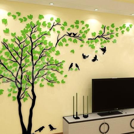 3D наклейка на стену Дерево 2 * 1  м