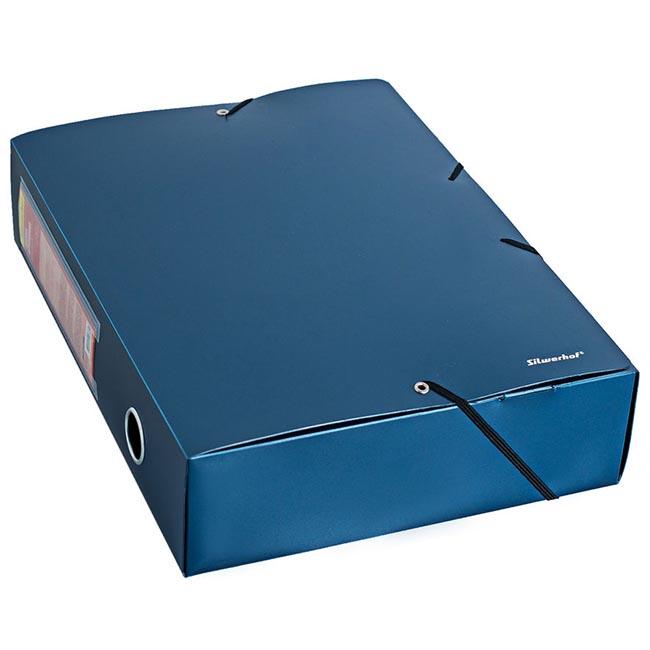 Папка архивная на резинке Silwerhof Perlen 311976-74 0.8мм корешок 75мм A4 синий металлик