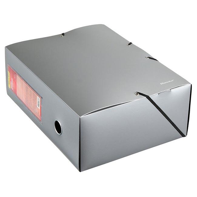 Папка архивная на резинке Silwerhof Perlen 311914-77 1мм корешок 120мм A4 серебристый металлик