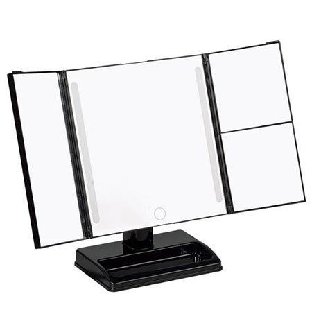 Косметическое раскладное зеркало с сенсорным экраном и LED подсветкой