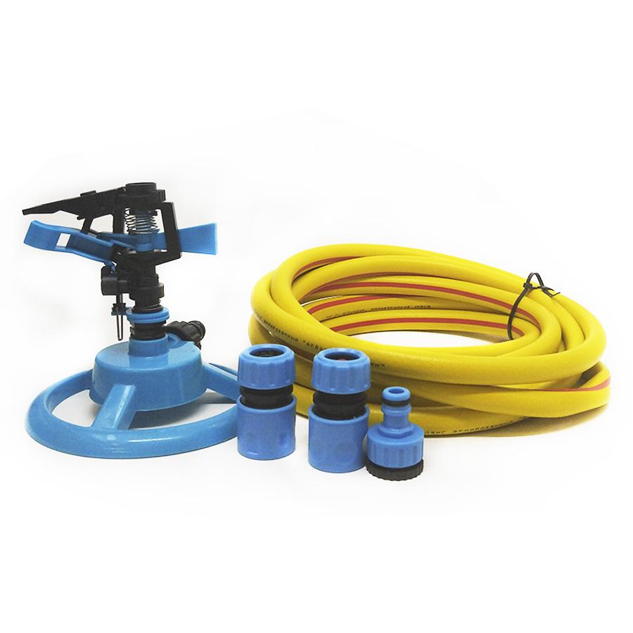 Комплект для полива газона и огорода №2 (дождеватель импульсный (поворотный), шланг, коннекторы)