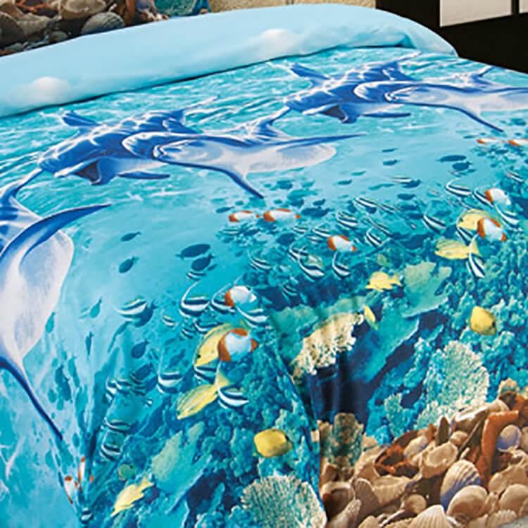 Постельное белье перкаль 2-спальное Евро 2 наволочки Дельфины
