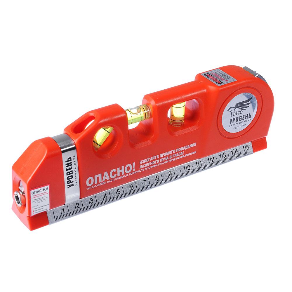 FALCO Уровень лазерный (лазер - питание 3хAG13, рулетка 250см, линейка 15см, пузырьковый уровень 3шт