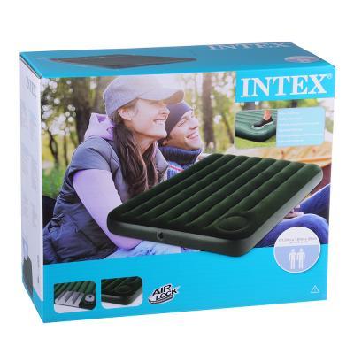 INTEX Кровать флок Downy, 137x191x22см, встроенный  ножной насос, зеленый, 66928