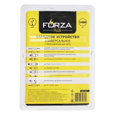 FORZA Зарядное устройство USB универсальное 10 в 1, с Авто З.У и С.З,У 1000МА, 17x11см
