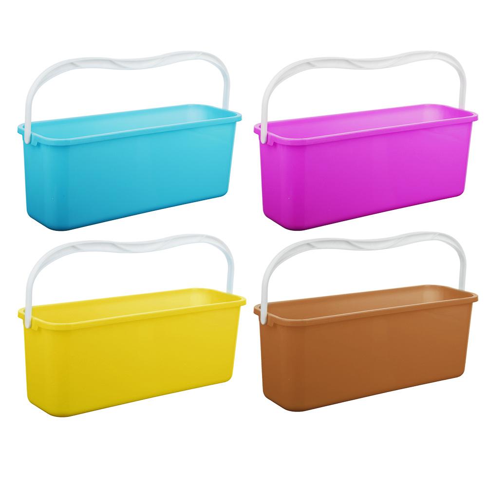 Ведро для мытья полов с ручкой прямоугольное, пластик, 45х15х17см, 3 цвета