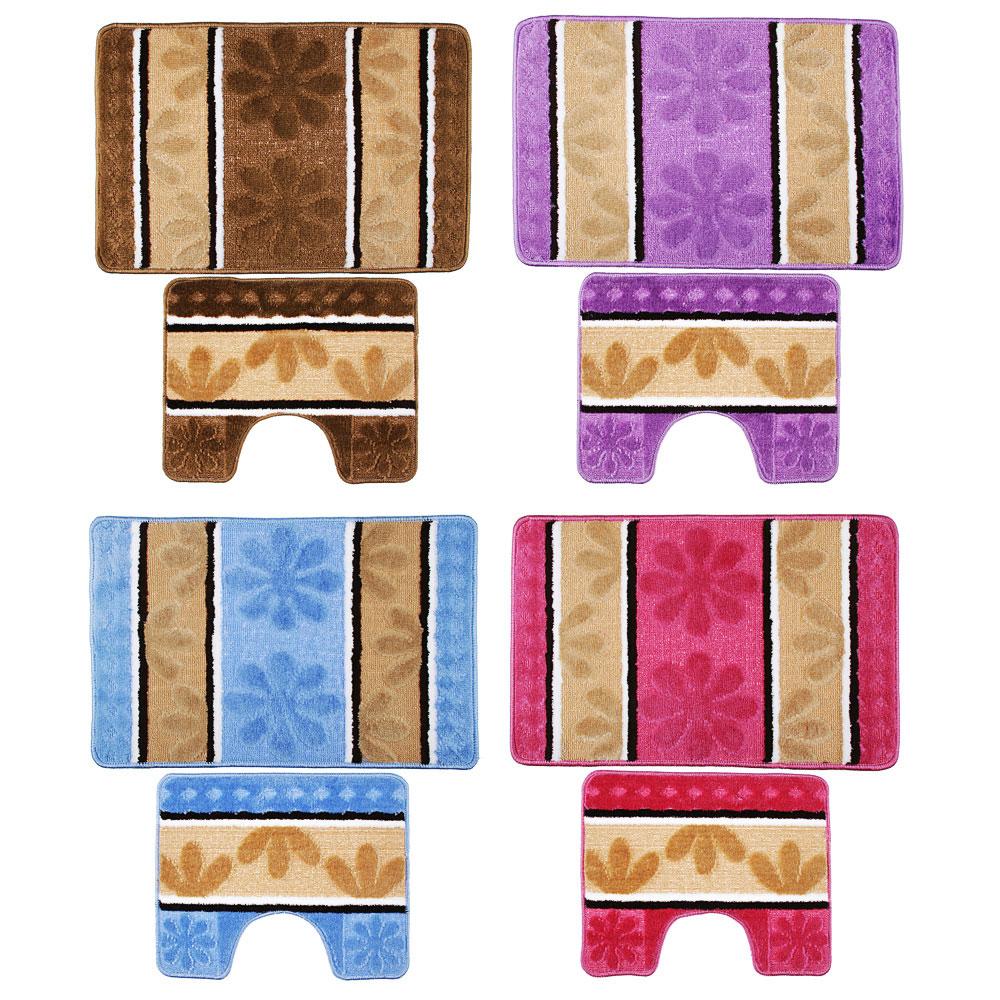 VETTA Набор ковриков 2шт для ванной и туалета, (50x80см + 50x40см), полиэстер 380гр,Полосатые,4цв