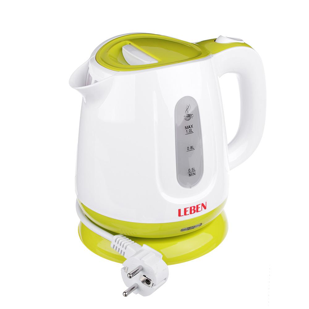 LEBEN Чайник электрический 1,0л, 900Вт, скрытый нагр.элемент, пластик, подсветка, 1