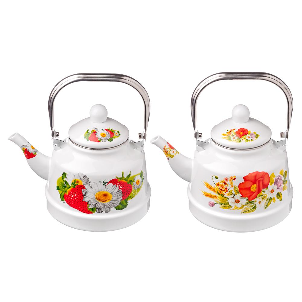 Чайник эмалированный 2,5 л, Полянка, 2 дизайна