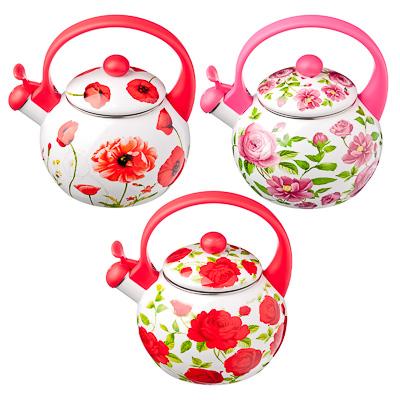 VETTA Чайник эмалированный со свистком 2,2л Цветы, 3 дизайна