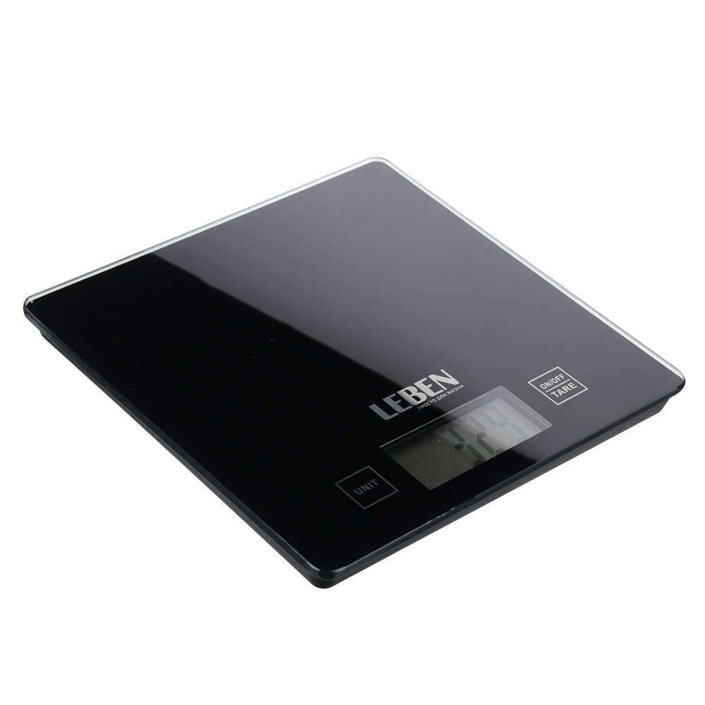 LEBEN Весы кухонные электронные, стекл.платформа, макс.нагр. 5кг (точн.измер. 1гр)