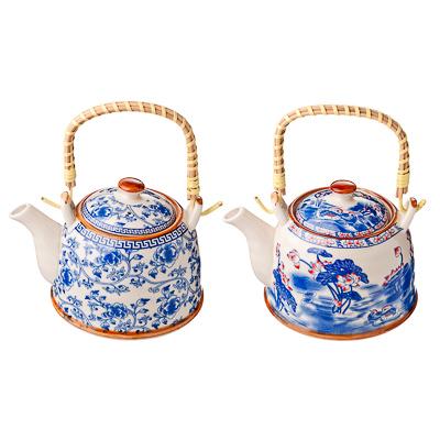 Чайник заварочный фарфор, 900мл, с бамбуковой ручкой Этно